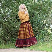 Одежда ручной работы. Ярмарка Мастеров - ручная работа Шерстяная юбка в клетку. Стиль бохо. Handmade.