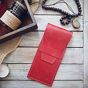 Сумки и аксессуары handmade. Livemaster - original item Handmade leather Pencil case Cone Red. Handmade.