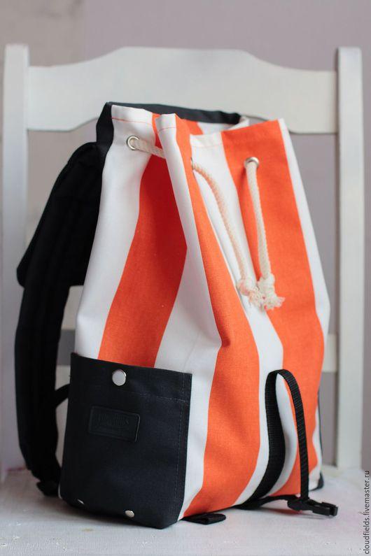 """Рюкзаки ручной работы. Ярмарка Мастеров - ручная работа. Купить Рюкзак из хлопка """"Морское путешествие"""". Handmade. Рыжий, рюкзак городской"""