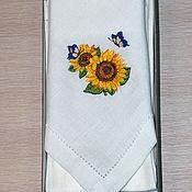 Подарки к праздникам handmade. Livemaster - original item Set linen napkins with embroidery