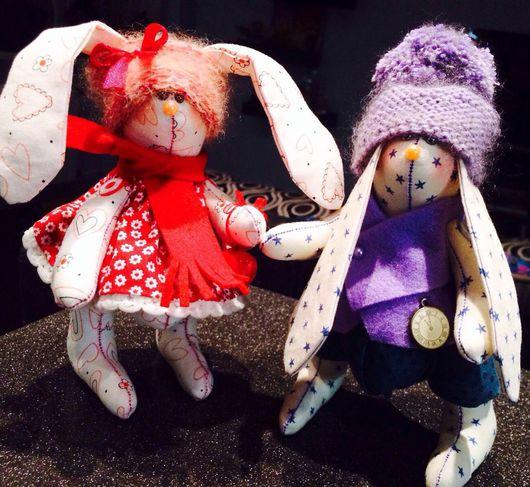 Игрушки животные, ручной работы. Ярмарка Мастеров - ручная работа. Купить Зимняя парочка зайцев - неразлучников:). Handmade.