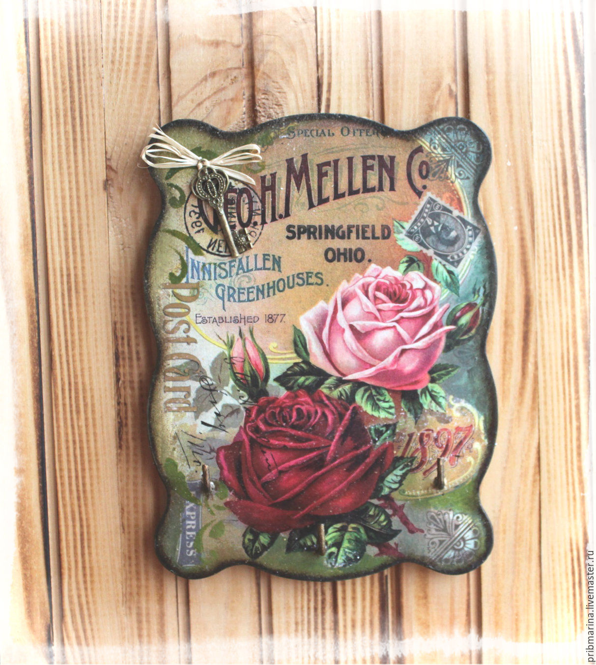 Housekeeper - hanger 'Card with vintage roses', Housekeeper, Tomsk, Фото №1
