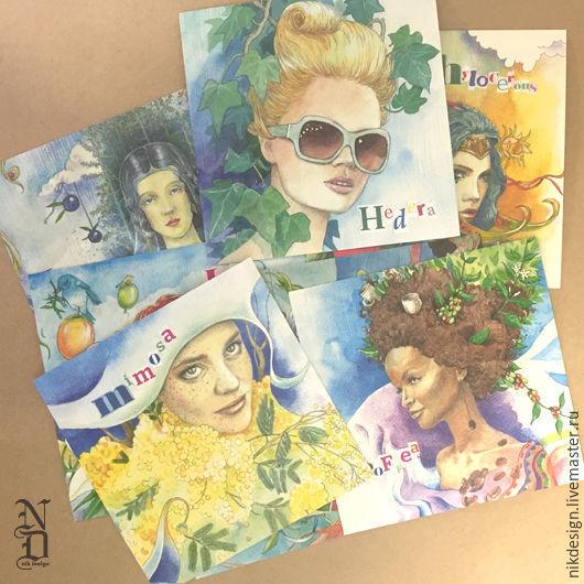 """Открытки на все случаи жизни ручной работы. Ярмарка Мастеров - ручная работа. Купить Подарочная коллекция открыток """"Гербарий в лицах"""" (9 штук). Handmade."""