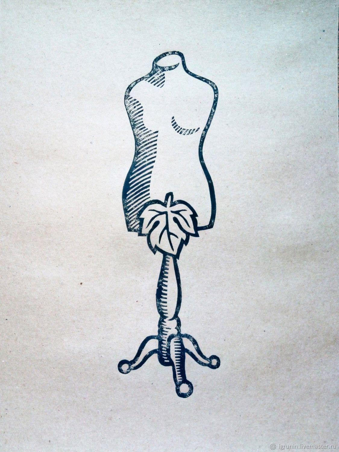 """""""костюм Евы""""линогравюра, авторская работа,всё просто,про моду и стиль), Картины, Москва,  Фото №1"""