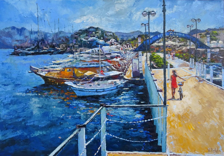 Марина,Море,солнце,набережная,картина маслом,девушка с велосипедом, Картины, Шостка,  Фото №1