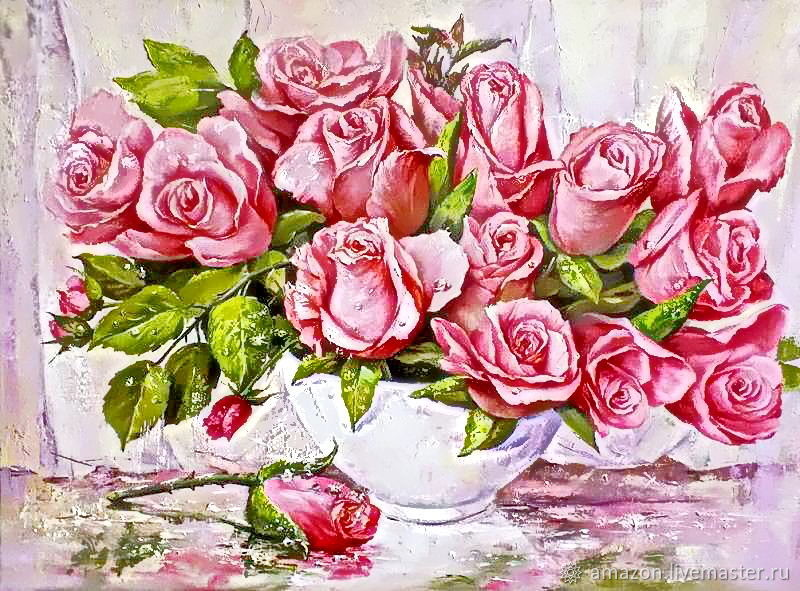 Kit embroidery with beads 'PINK BOUQUET №2' full lining with beads, Creator\'s Kit, Ufa,  Фото №1