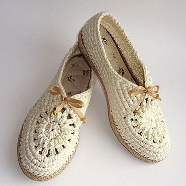 Обувь ручной работы. Ярмарка Мастеров - ручная работа Мокасины вязаные Lady G, белый хлопок. Handmade.