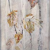 Картины и панно ручной работы. Ярмарка Мастеров - ручная работа картина акварелью Утро, тишина... (серый, осенняя листва, желтый). Handmade.