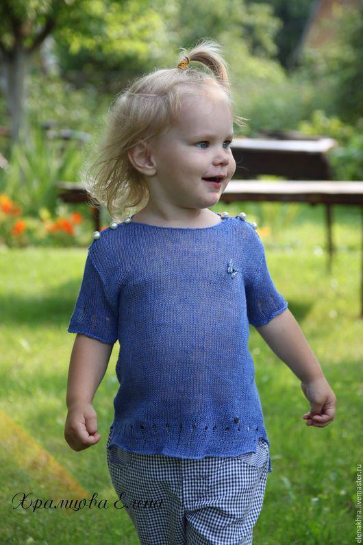 Одежда для девочек, ручной работы. Ярмарка Мастеров - ручная работа. Купить Летняя футболка из льна. Handmade. Синий, одежда для детей