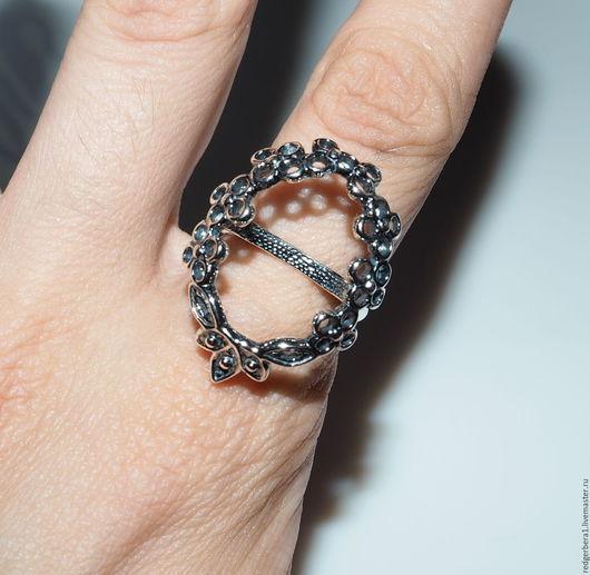 """Для украшений ручной работы. Ярмарка Мастеров - ручная работа. Купить Основа для кольца """"Цветы""""(20х15) - серебрение 925 пробы. Handmade."""