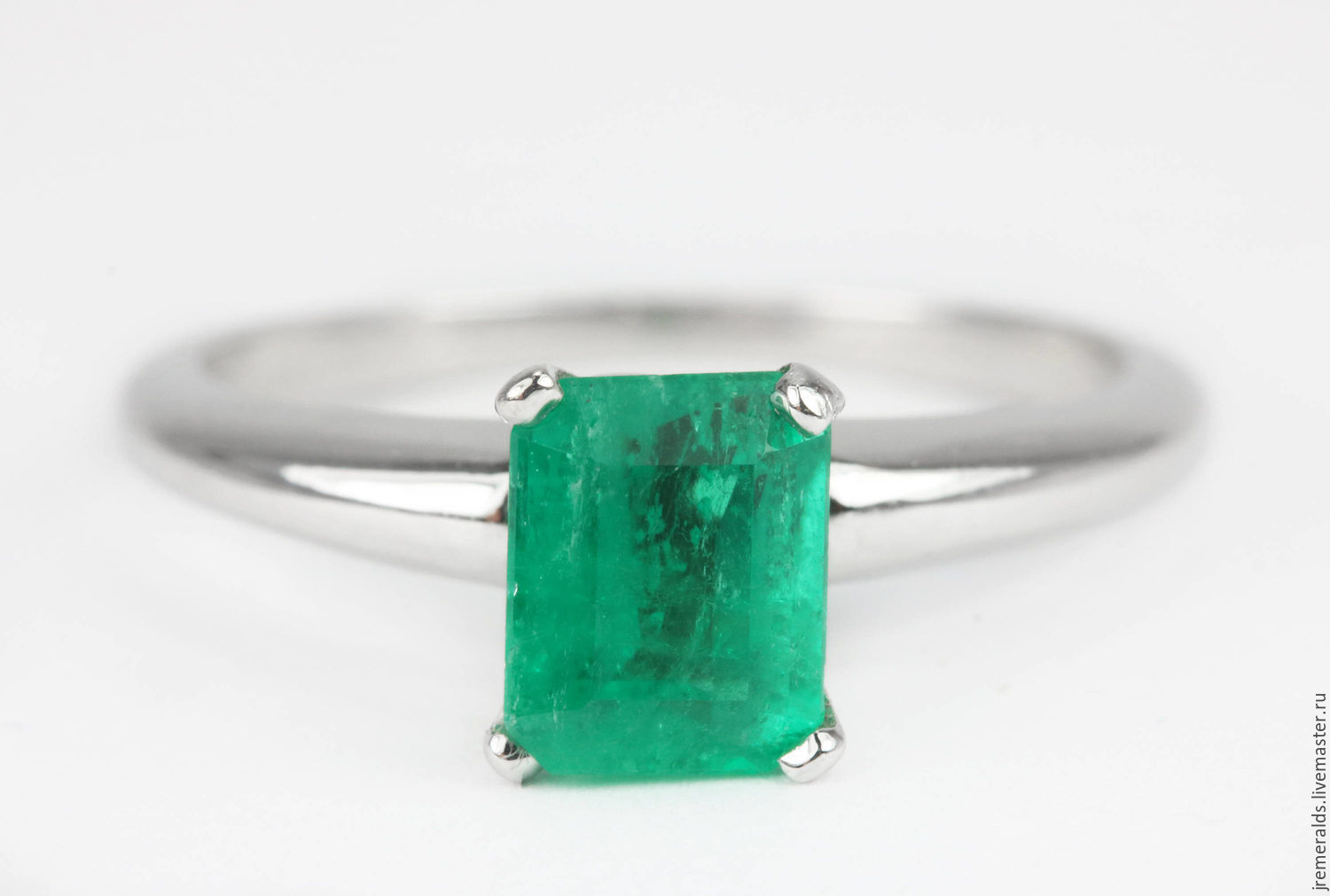 Rings handmade. Livemaster - handmade. Buy 1.40cts 14K Colombian Emerald Solitaire Engagement Ring, Emerald.Ring