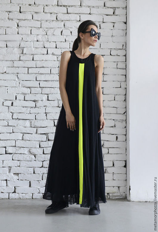 Платья ручной работы. Ярмарка Мастеров - ручная работа. Купить Черное длинное платье с неоновой полосой. Handmade. Черный