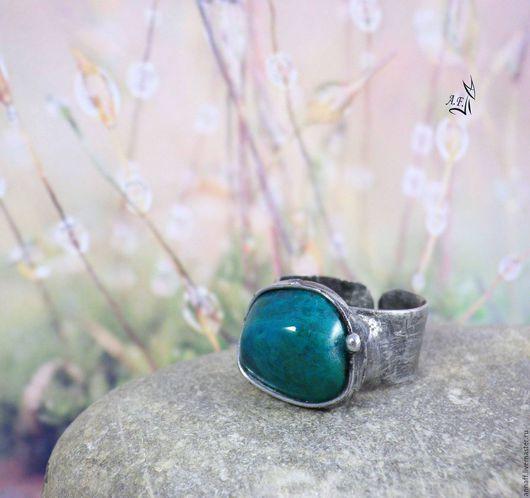 """Кольца ручной работы. Ярмарка Мастеров - ручная работа. Купить """"Островок"""" - кольцо с хризоколлой. Handmade. Зеленый, безразмерное кольцо"""