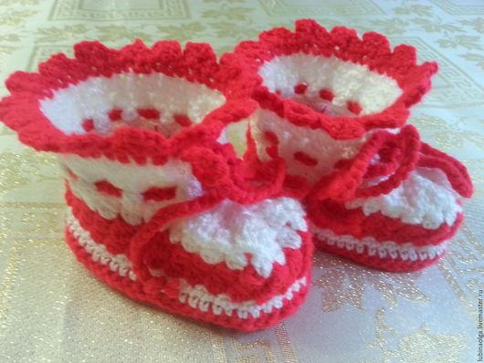 """Для новорожденных, ручной работы. Ярмарка Мастеров - ручная работа. Купить Пинетки для малышей из серии """"Гламурчики"""" красно-белые. Handmade."""