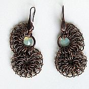 Украшения handmade. Livemaster - original item Copper earrings with Swarowski crystals Volute. Handmade.