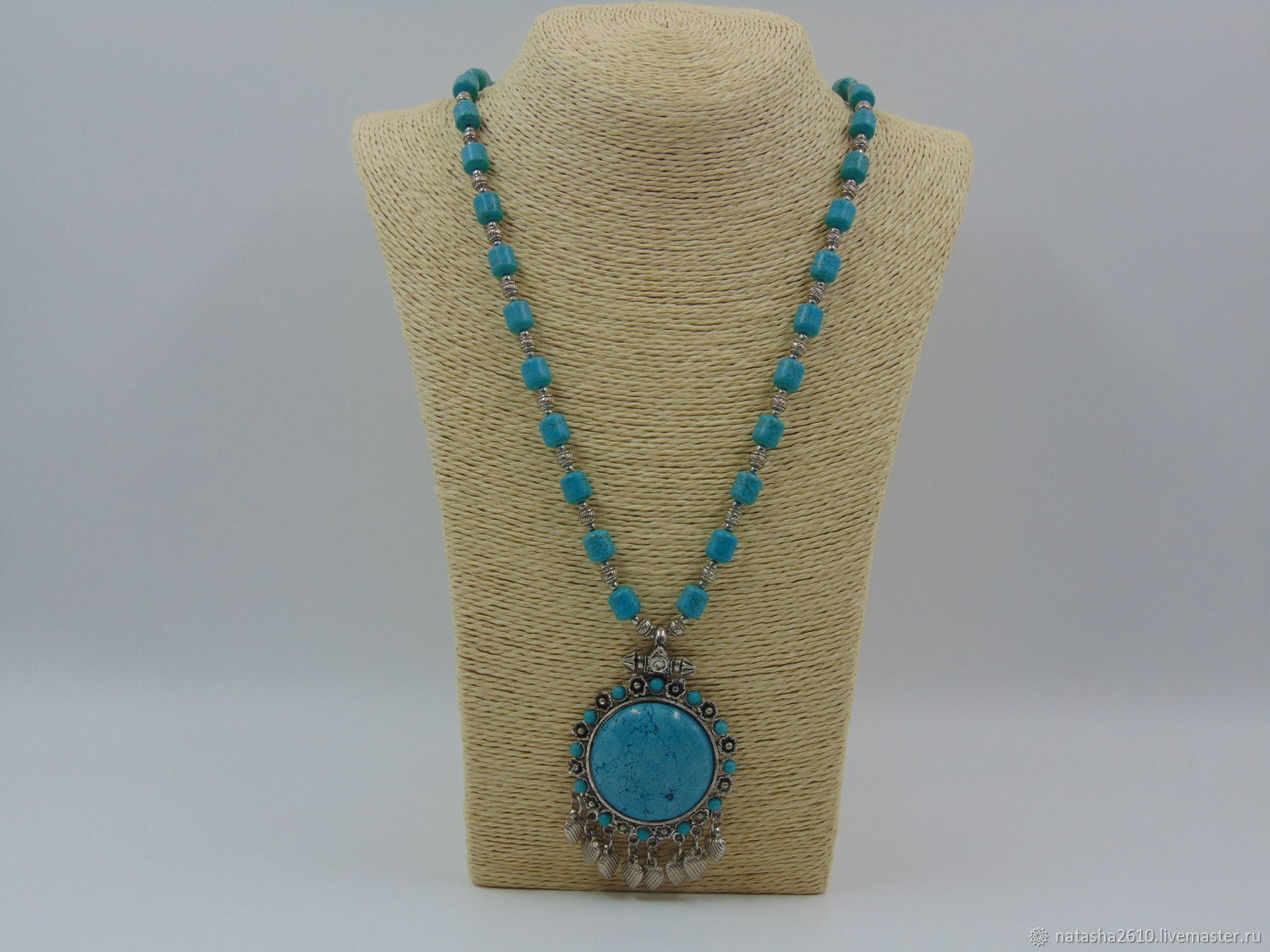 Beads with a pendant made of natural stones 'Turquoise chic', Necklace, Velikiy Novgorod,  Фото №1