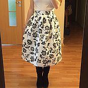 Одежда ручной работы. Ярмарка Мастеров - ручная работа Пышная юбка миди Черные узоры на белом на подкладе на осень. Handmade.