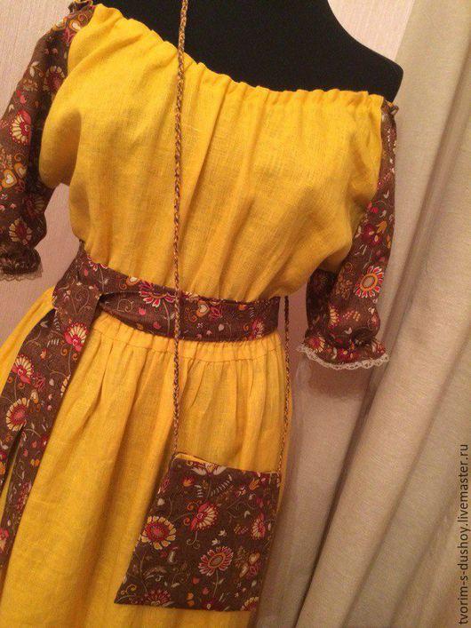 Платья ручной работы. Ярмарка Мастеров - ручная работа. Купить Льняное платье Осенняя история 2. Handmade. Желтое платье