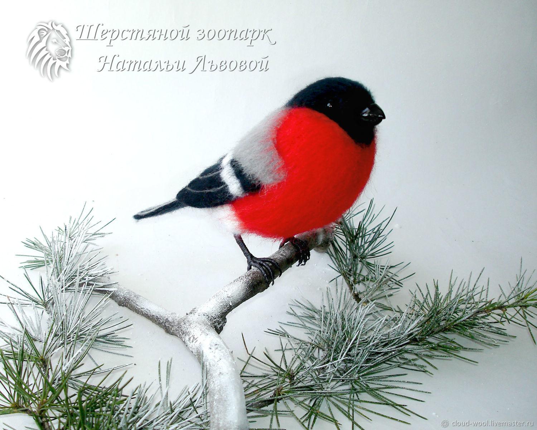 Птица Снегирь, интерьерная птица снегирь 2 валяный, игрушка войлочная, Войлочная игрушка, Сочи,  Фото №1