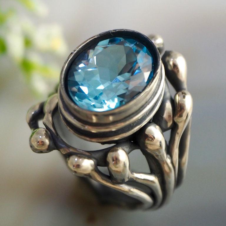 """Кольцо """"Флора"""" - аметист, топаз, серебро, Rings, Prague,  Фото №1"""
