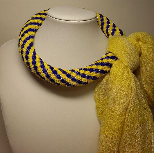 Колье, бусы ручной работы. Ярмарка Мастеров - ручная работа. Купить Жгут для шарфика. Handmade. Разноцветный, полосатый, оригинальный подарок