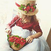 Аксессуары ручной работы. Ярмарка Мастеров - ручная работа Шляпка соломeнная с сумочкой. Handmade.