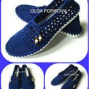 Обувь ручной работы. Ярмарка Мастеров - ручная работа Мокасины (улица) синие.. Handmade.