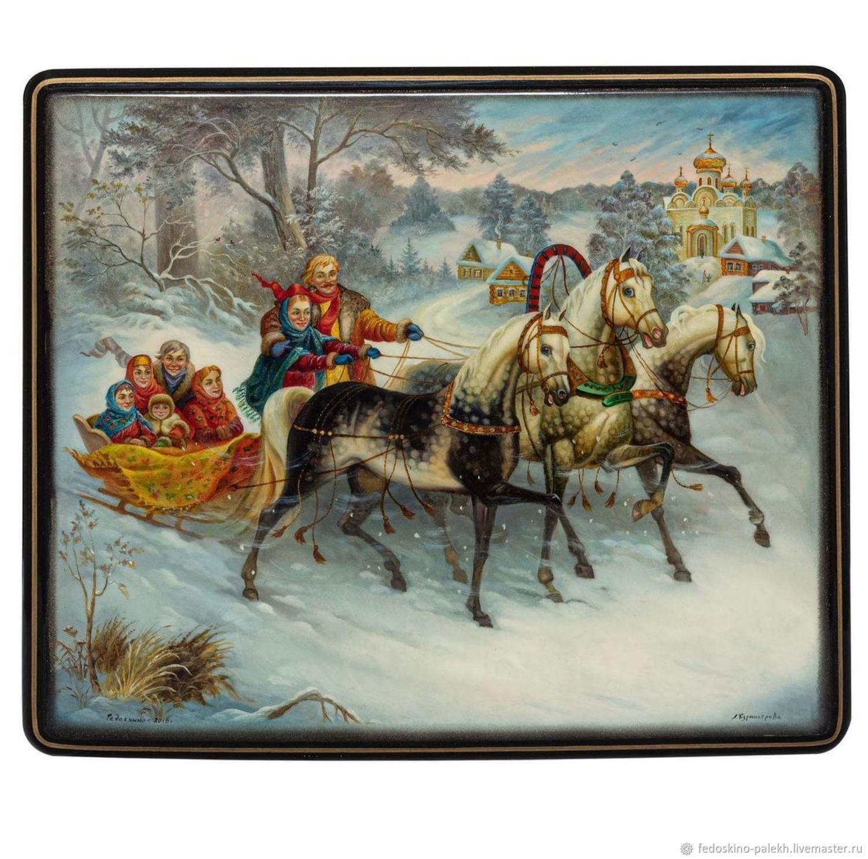 Шкатулка с лаковой миниатюрой «Семья», Шкатулки, Москва,  Фото №1