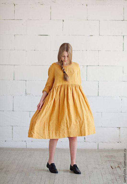 Платья ручной работы. Ярмарка Мастеров - ручная работа. Купить Золотая осень. Handmade. Желтый, осенняя мода, льняное платье