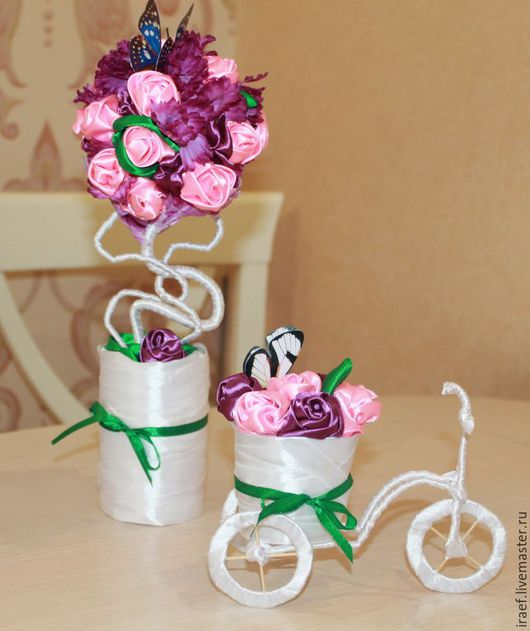 """Топиарии ручной работы. Ярмарка Мастеров - ручная работа. Купить Композиция """"Цветочное чудо"""". Handmade. Розовый, велосипед, композиция"""