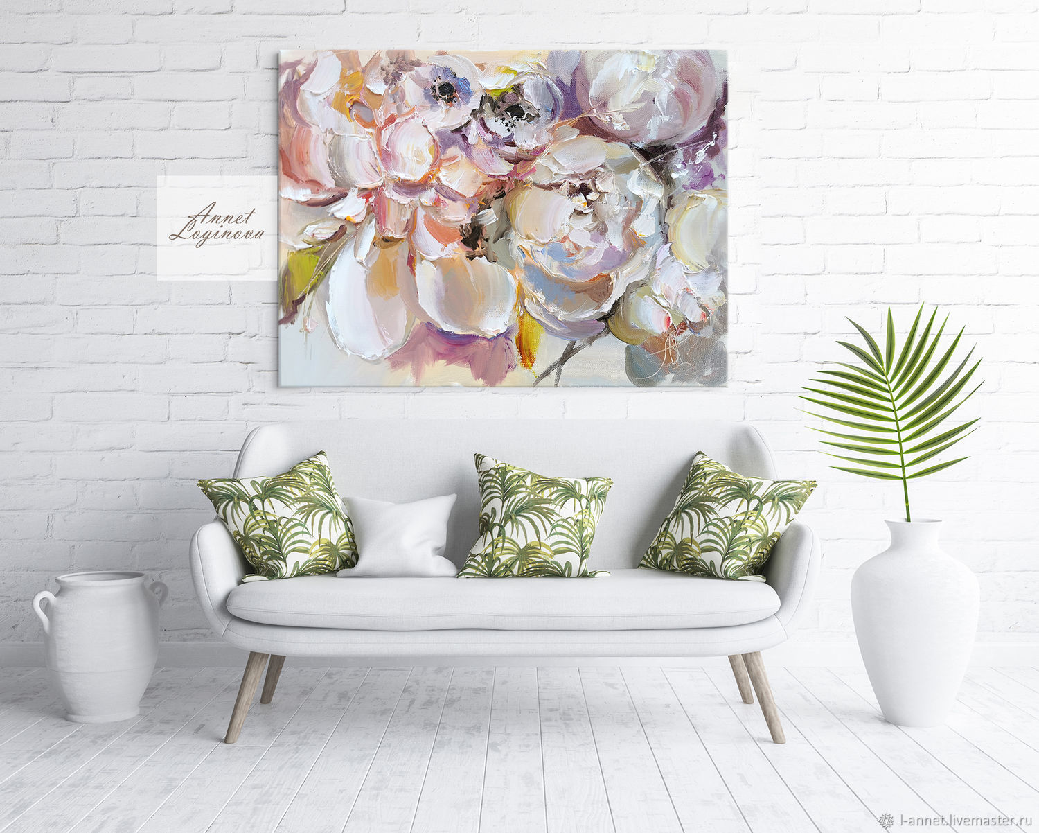 Painting with peonies in oil and in the technique of author's printing to order, Pictures, Moscow,  Фото №1