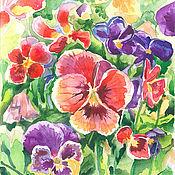 Pictures handmade. Livemaster - original item Watercolor painting Pansies. Handmade.