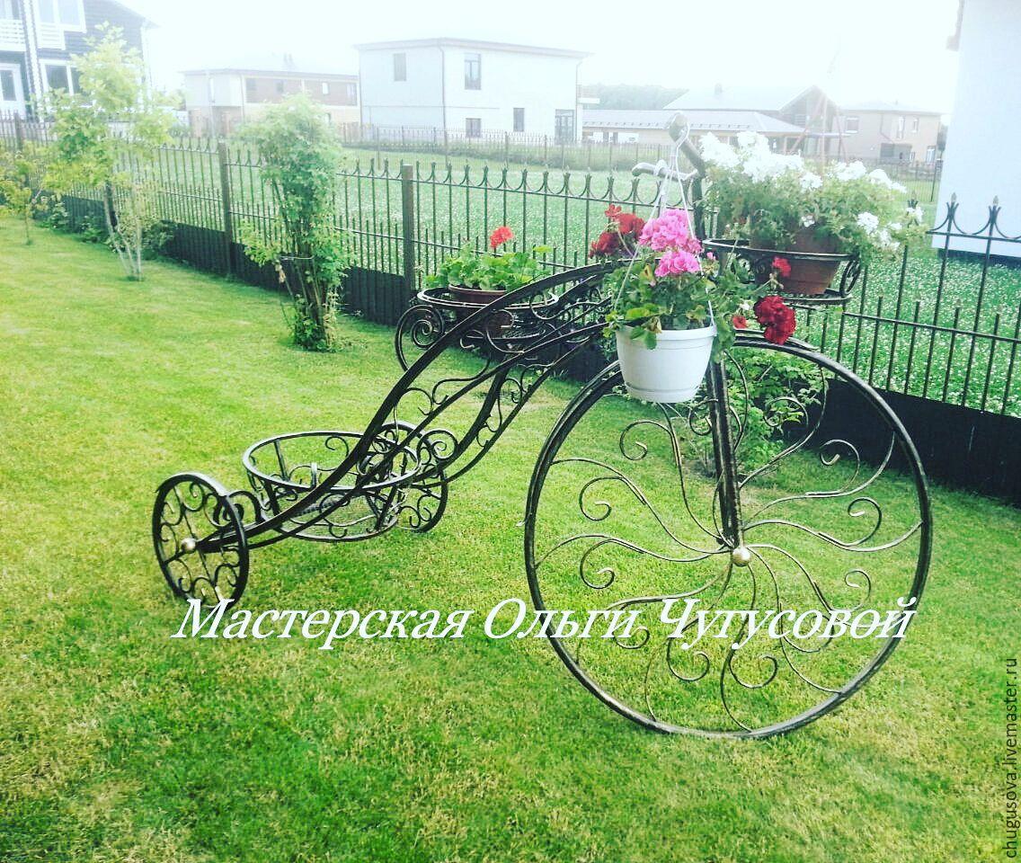Подставка для цветов в виде велосипеда фото