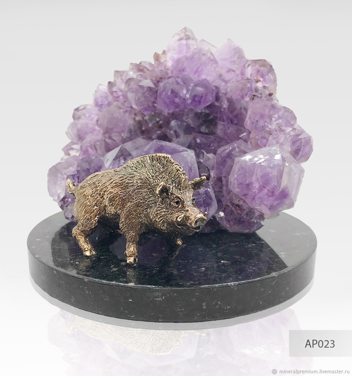 Figurines handmade. Livemaster - handmade. Buy Bronze wild Boar with amethyst, the symbol of the year of the pig.