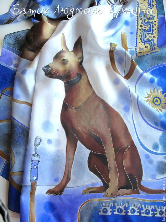 """Шали, палантины ручной работы. Ярмарка Мастеров - ручная работа. Купить батик платок """"Собака Ксоло""""  шелк. Handmade."""