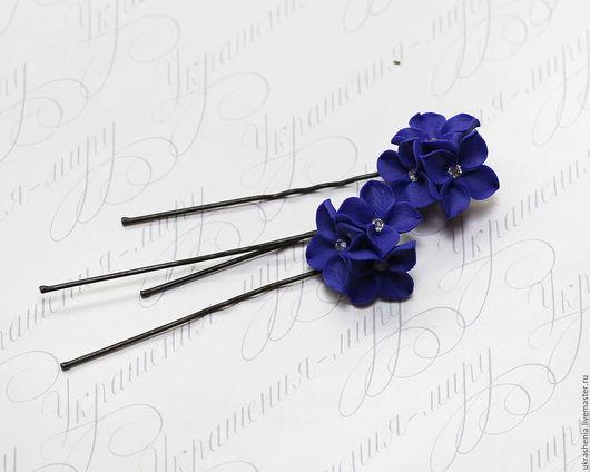 Шпильки для волос с синими цветочками. Цвет может быть любой. Цена 180р за шт.