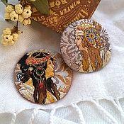 Украшения handmade. Livemaster - original item Brooch embroidered round based on the paintings of Alphonse Mucha. Handmade.