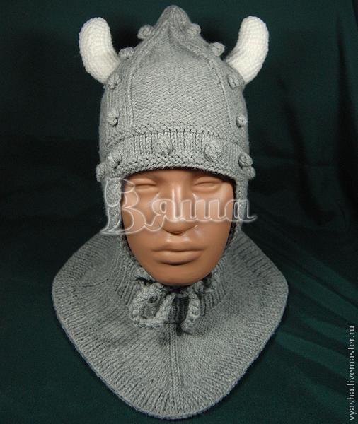 """Шапки и шарфы ручной работы. Ярмарка Мастеров - ручная работа. Купить Комплект """"Викинг"""": шапочка и манишка для мальчика вязаный. Handmade."""