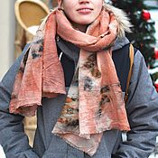 "handmade. Livemaster - original item Wool eco scarf ""Peaches and berries"" ecoprint hand-dye. Handmade."