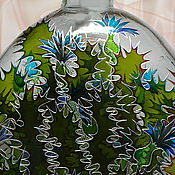 Посуда handmade. Livemaster - original item Bottle Thistle, stained glass painting. Handmade.