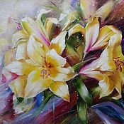 Картина маслом Желтые лилии