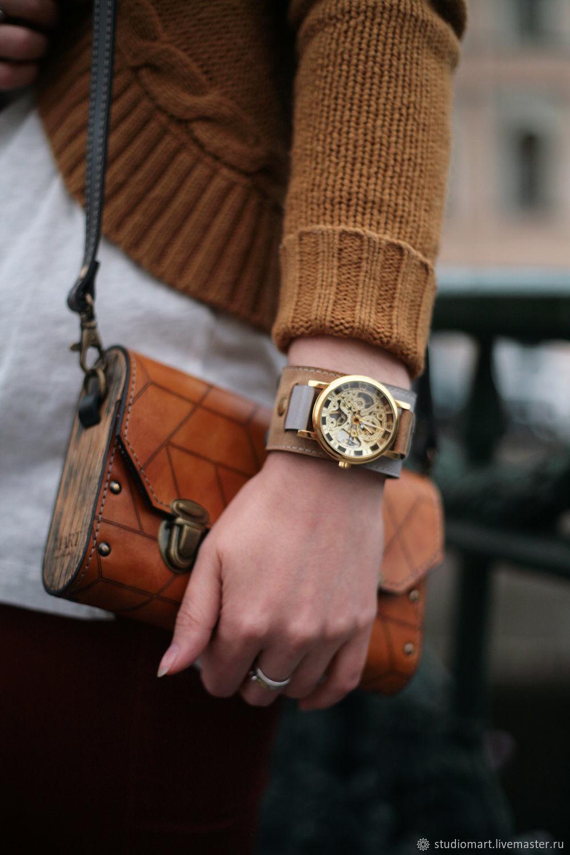 wrist mechanical watch skeleton watch on wide bracelet women men watch transparent movement on wide leather designer strap watch bracelet leather watchband custom steampunk