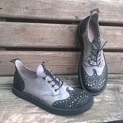 Обувь ручной работы. Ярмарка Мастеров - ручная работа Броги из нубука VICE VERSA paisley серо-черные. Handmade.
