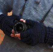 Аксессуары ручной работы. Ярмарка Мастеров - ручная работа Митенки мужские черные вязаные шерсть Перчатки без пальцев. Handmade.