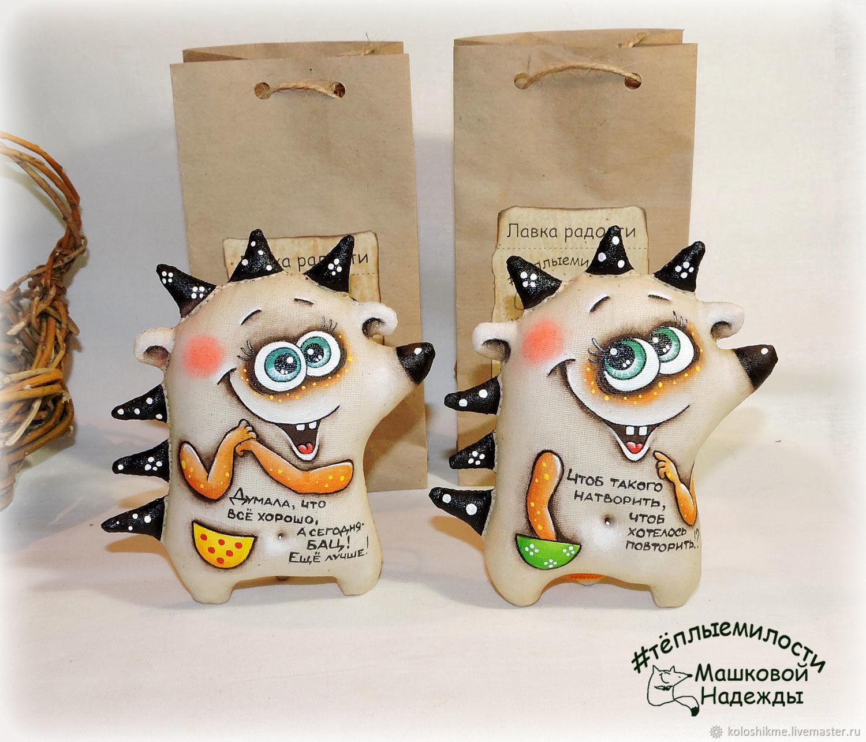 hedgehogs coffee toys handmade Fun gift in the car, Dolls, Chelyabinsk,  Фото №1