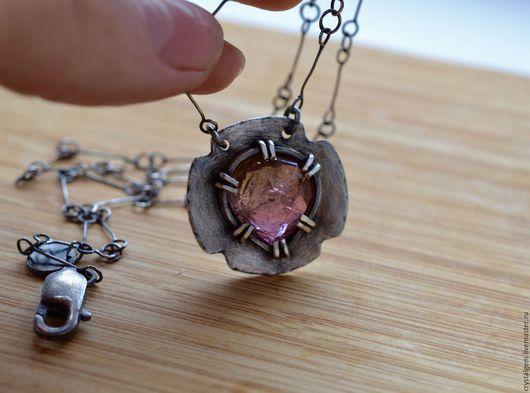 """Кулоны, подвески ручной работы. Ярмарка Мастеров - ручная работа. Купить """"Magia"""", арбузный турмалин, серебро. Handmade. Розовый, крест"""