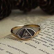 Украшения handmade. Livemaster - original item Ring all Seeing eye. Masonic ring. The Illuminati. bronze silver.. Handmade.