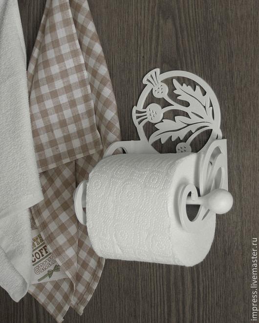 Ванная комната ручной работы. Ярмарка Мастеров - ручная работа. Купить держатель для туалетной бумаги Чертополох. Handmade. Чёрно-белый