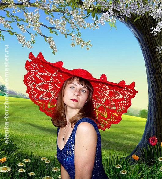 Шляпы ручной работы. Ярмарка Мастеров - ручная работа. Купить Шляпа Алая Роза. Handmade. Ажурный узор, ручное вязание
