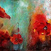 Картины и панно ручной работы. Ярмарка Мастеров - ручная работа Ярко красные маки на бирюзовом живопись маслом картина 30х40 см. Handmade.